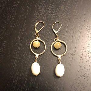 Beaded gold tone earrings